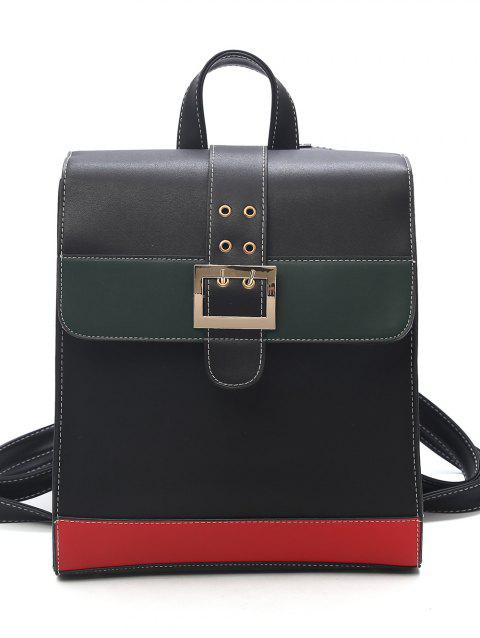 Buckled Flapped Dating Backpack - BLACK
