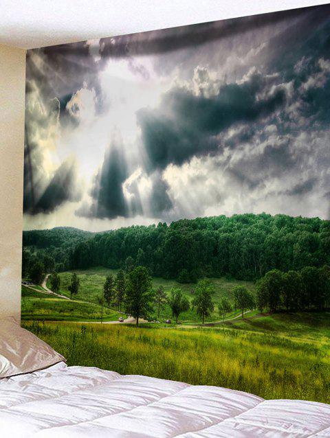 Forest Clouds Sky Pathway Print Wall Hanging Tapestry - GREEN W59 INCH * L59 INCH