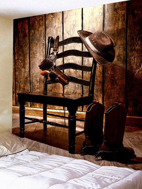 Chair Hanging Cowboy Hat Boots Holster Print Wall Tapestry - BROWN W91 INCH * L71 INCH