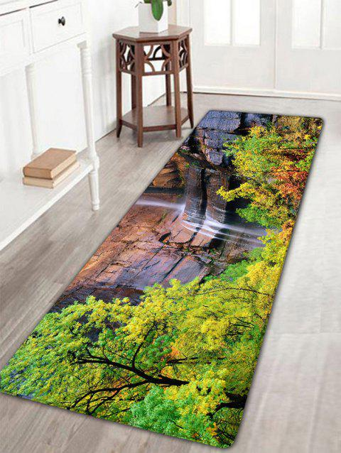 Mountain Waterfall Forest Scenery Print Flannel Rug - GREEN W16 INCH * L47 INCH