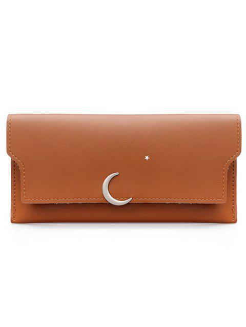 Moon and Star Long Card Holder Wallet - BROWN
