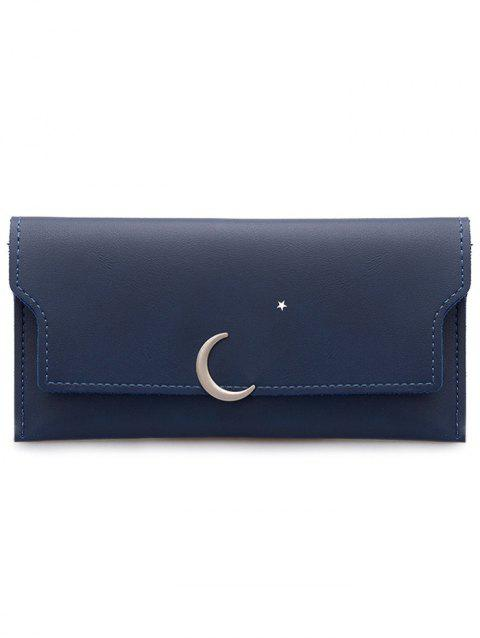Moon and Star Long Card Holder Wallet - BLUE