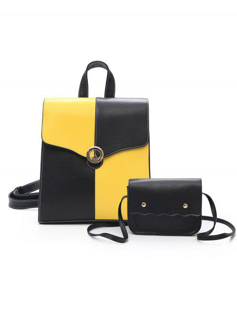 Color Block 2 Pieces Backpack Set - YELLOW/BLACK