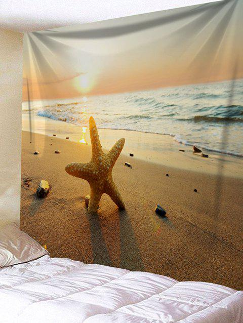 Sunset Beach Waves Starfish Print Wall Tapestry - DEEP BROWN W59 INCH * L51 INCH