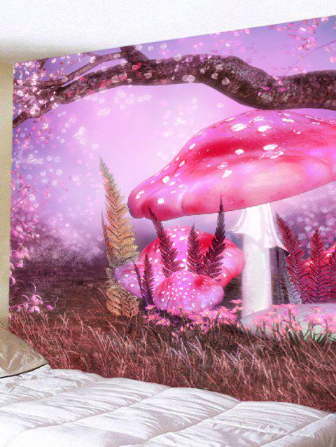 Dreamy Mushroom Grass Print Wall Art Hanging Tapestry - LIGHT PURPLE W79 INCH * L71 INCH