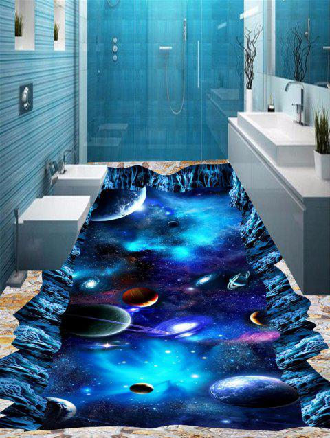 3D Starry Sky Planet Cosmos Print Floor Stickers - BLUE 6PCS:17*63 INCH