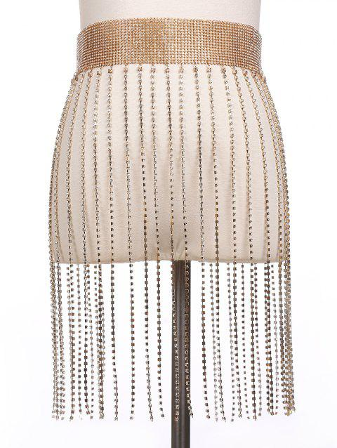 Alloy Rhinestoned Fringed Belly Chain - GOLDEN
