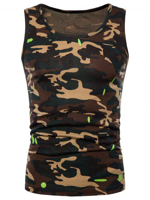Camouflage Printed Workout Tank Top - GREEN 2XL