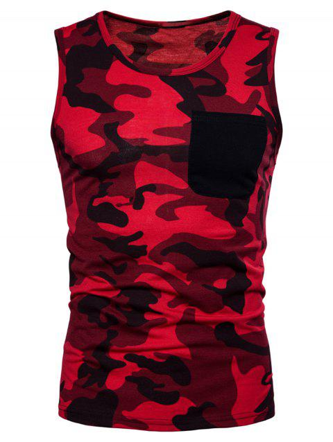 Camouflage Print Pocket Tank Top - RED M