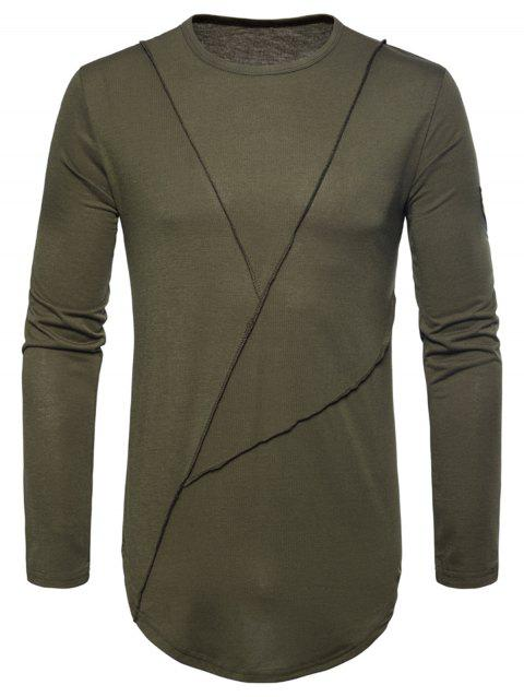 Curved Hem Embroidered Arrow Crew Necklace T-shirt - ARMY GREEN M