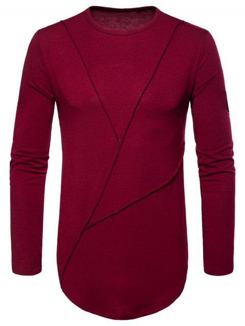 Curved Hem Embroidered Arrow Crew Necklace T-shirt - WINE RED 2XL