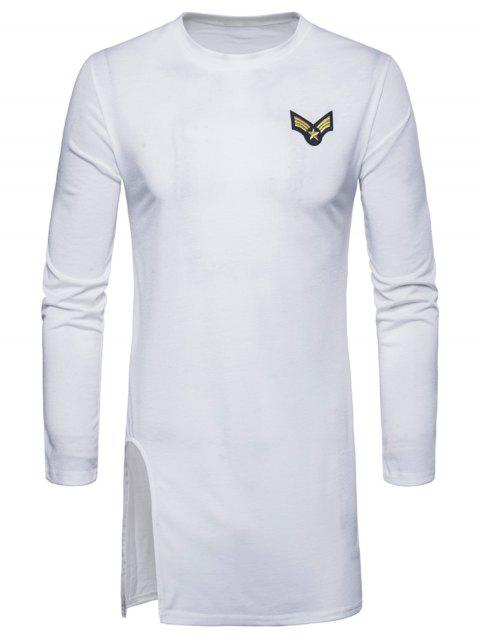 Side Slit Long Sleeve Embroidered Badge T-shirt - WHITE 2XL