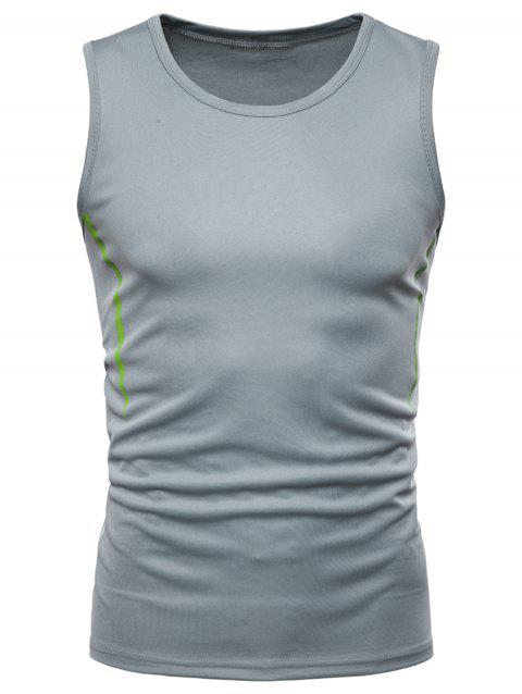 Contrast Stripe Workout Tank Top - GRAY L