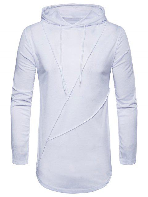 Zip Hem Solid Color Long Sleeve Hooded T-shirt - WHITE XL