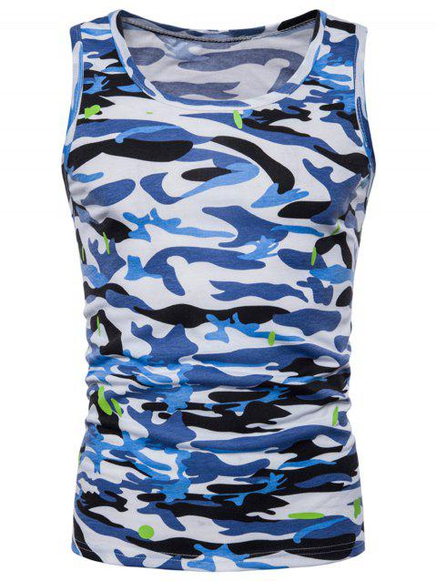 Camouflage Printed Workout Tank Top - BLUE XL