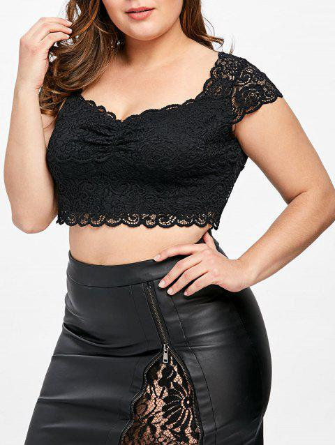 cfe95f415ba LIMITED OFFER  2019 Plus Size Lace Sweetheart Neck Crop Top In BLACK ...