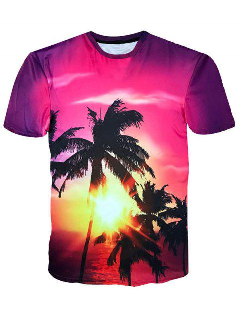 Hawaiian Sunshine Coconut Trees Print Crew Neck T-shirt - JACINTH L