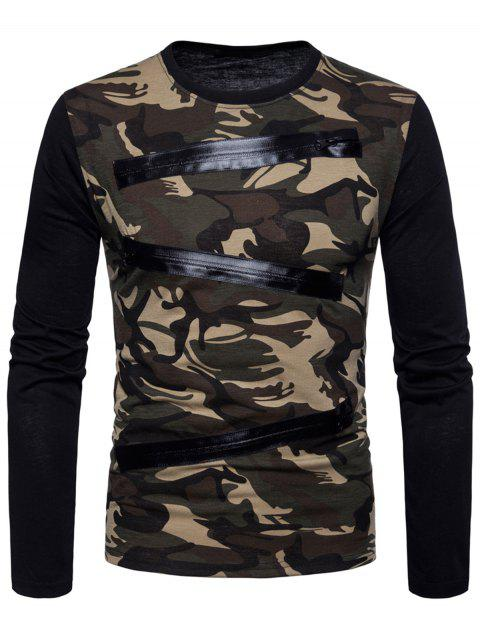 Zippers Design Camouflage T-shirt - EARTHY L