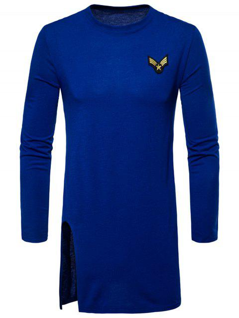 Side Slit Long Sleeve Embroidered Badge T-shirt - ROYAL 2XL