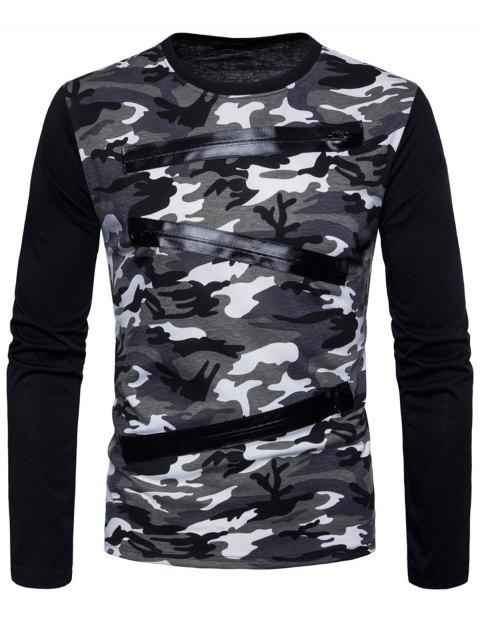 Zippers Design Camouflage T-shirt - GRAY M
