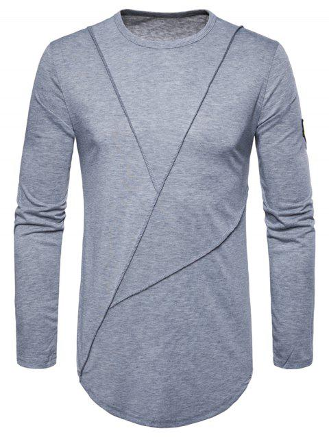 Curved Hem Embroidered Arrow Crew Necklace T-shirt - LIGHT GRAY L
