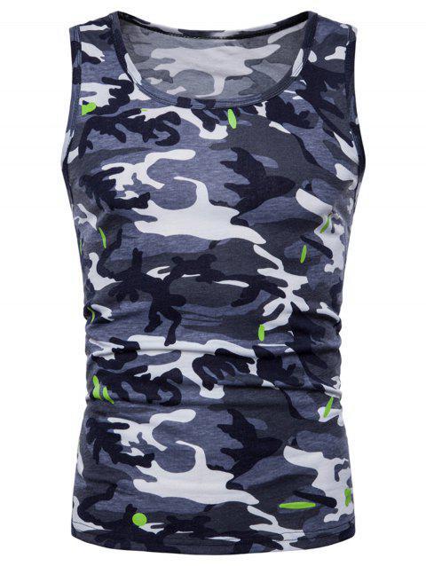 Camouflage Printed Workout Tank Top - GRAY 2XL