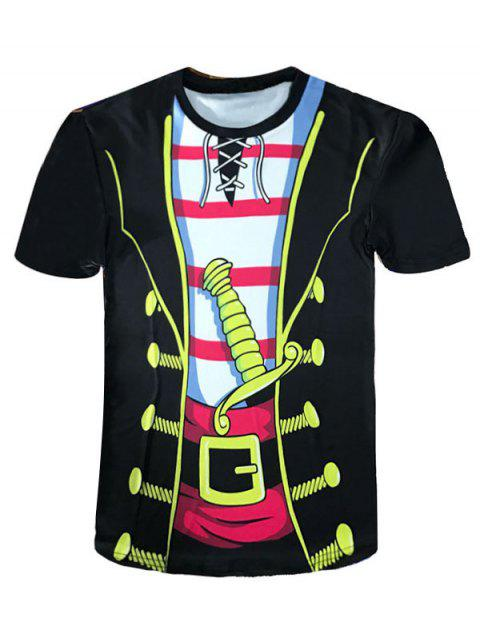 Cartoon Pirate Costume Faux Twinset Novelty Tee - YELLOW/BLACK S