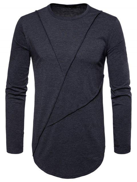 Curved Hem Embroidered Arrow Crew Necklace T-shirt - DEEP GRAY M
