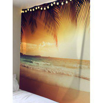Coconut Seaside Beach Scenery Printed Wall Tapestry - SUN YELLOW W79 INCH * L59 INCH