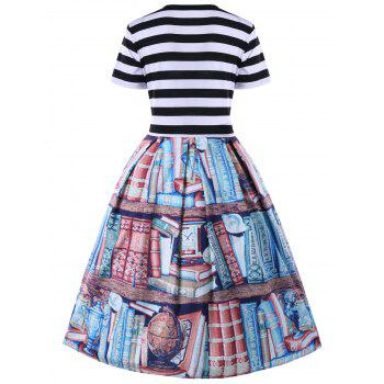 Plus Size Vintage Bookrack Print Swing Dress - COLORMIX XL