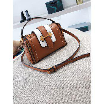 Rivet Flap PU Leather Crossbody Bag - BROWN