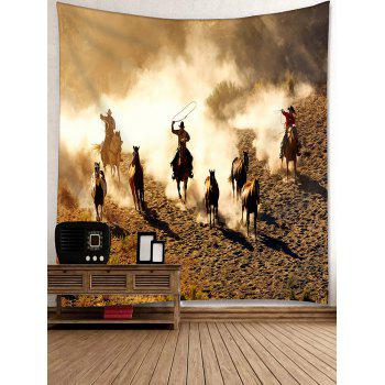 Cowboy Desert Horse Galloping Print Tapestry - DEEP BROWN W91 INCH * L71 INCH