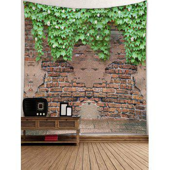 Bricks Wall Flowers Plants Print Hanging Tapestry - DEEP BROWN W91 INCH * L71 INCH