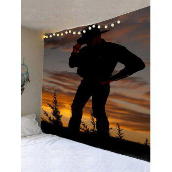 West Cowboy Standing Print Wall Hanging Tapestry - BROWN W91 INCH * L71 INCH