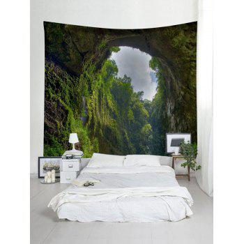 Forest Cave Print Tapestry Wall Hanging Art Decoration - GREEN W91 INCH * L71 INCH
