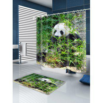 Sitting Panda Print Water-repellent Shower Curtain - TURQUOISE W71 INCH * L71 INCH