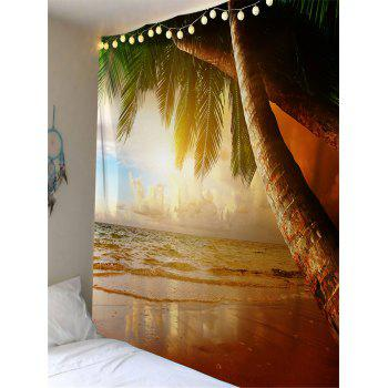 Beach Coconut Palm Printed Wall Hanging Tapestry - LIGHT BROWN W91 INCH * L71 INCH