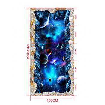3D Starry Sky Planet Cosmos Print Floor Stickers - BLUE 5PCS:16*39 INCH