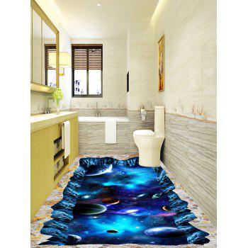 3D Starry Sky Planet Cosmos Print Floor Stickers - BLUE 5PCS:17*59 INCH
