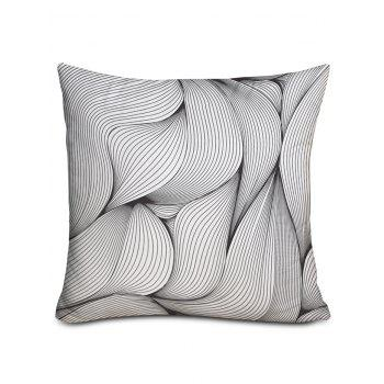 Leaf Lines Print Decorative Pillow Cover - BLACK WHITE W18 INCH * L18 INCH