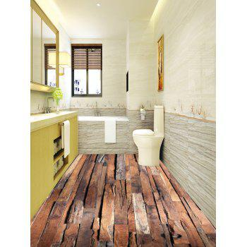 Retro Wood Plank Print Floor Stickers - DEEP BROWN 7PCS:16*71 INCH