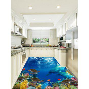 3D Sea Dolphins Turtles Print Floor Stickers - COLORMIX 5PCS:16*39 INCH