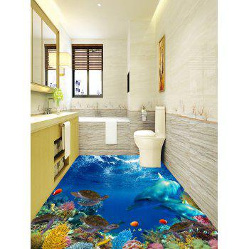 3D Sea Dolphins Turtles Print Floor Stickers - COLORMIX 7PCS:16*71 INCH
