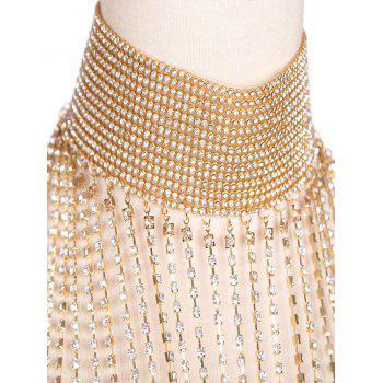 Alloy Rhinestone Fringed Chain Body Jewelry - GOLDEN
