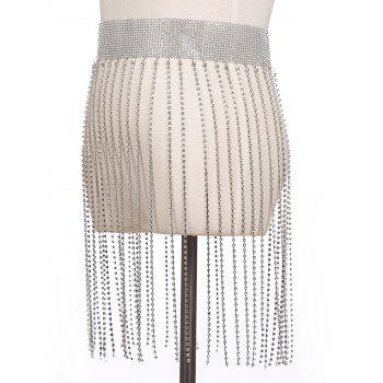 Alloy Rhinestoned Fringed Belly Chain - SILVER