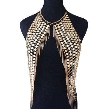 Punk Sequins Fringed Body Chain - GOLDEN