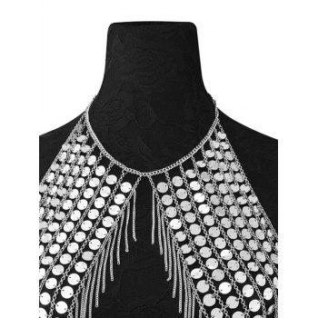 Punk Sequins Fringed Body Chain - SILVER