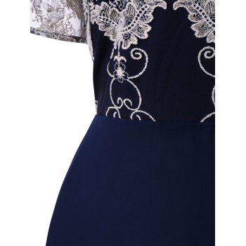 Plus Size Lace Broderie High Waist Dress - BLUE 3XL