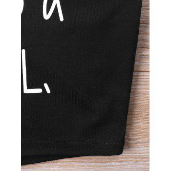 Letters Printed Halter Neckline Crop Top - BLACK L