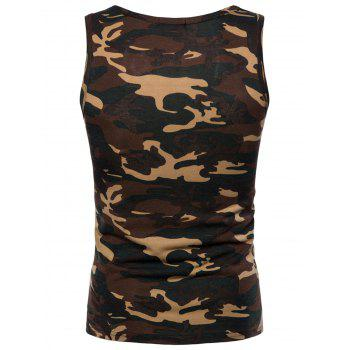 Camouflage Printed Workout Tank Top - GREEN M